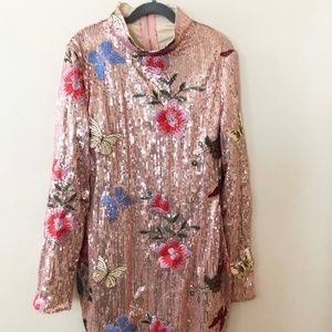 Vintage Sequined floral Embroidered Dress